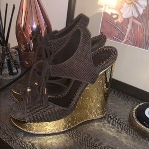 Yves Saint Laurent Shoes - YSL GOLD/BROWN WEDGES